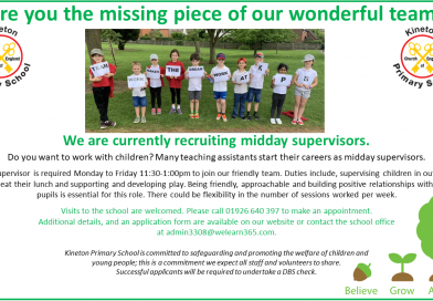 Kineton Primary School currently recruiting for midday supervisors